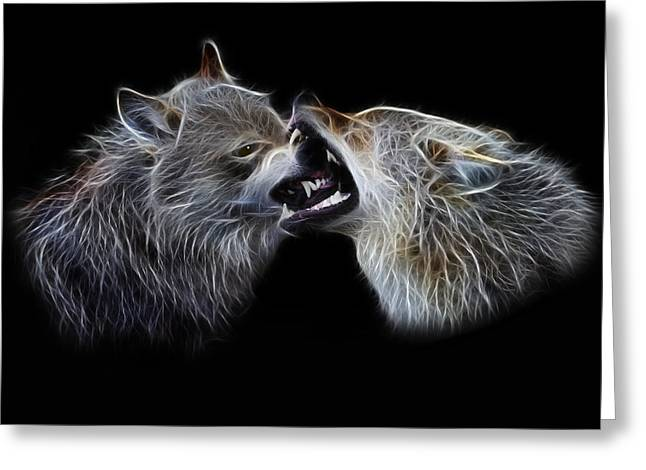 Hierarchy Greeting Cards - Wolves portrait Greeting Card by Julie L Hoddinott