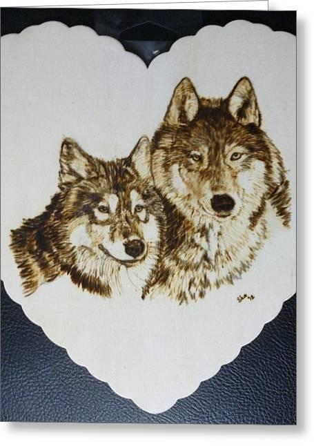 Display Pyrography Greeting Cards - Wolves Pyrographic Wood Burn Heart Original 7.5 x 7.5 inch Greeting Card by Shannon Ivins