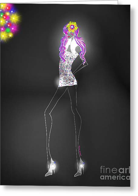 Woman 12 - Clubbin Greeting Card by Cheryl Young
