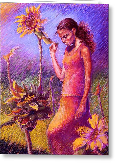 Sunflowers Pastels Greeting Cards - Woman Among the Sunflowers Greeting Card by Ellen Dreibelbis