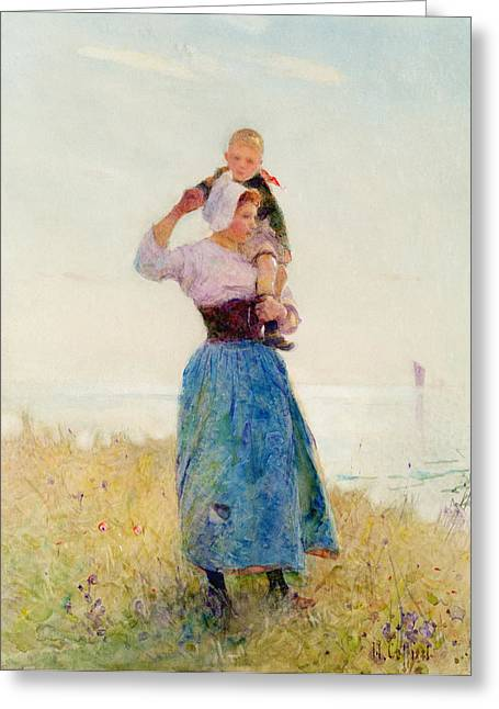 Breezy Greeting Cards - Woman and Child in a Meadow Greeting Card by Hector Caffieri