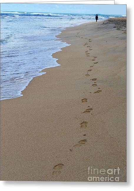 Woman In Color. Women In Color Greeting Cards - Woman and footprints on beach Greeting Card by Sami Sarkis