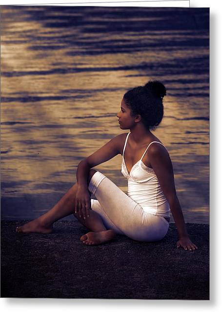 Sportswear Greeting Cards - Woman At A Lake Greeting Card by Joana Kruse