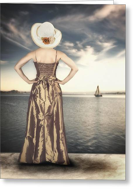 Period Greeting Cards - Woman At The Lake Greeting Card by Joana Kruse