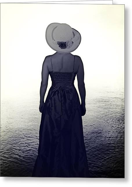 Sun Hat Greeting Cards - Woman At The Shore Greeting Card by Joana Kruse
