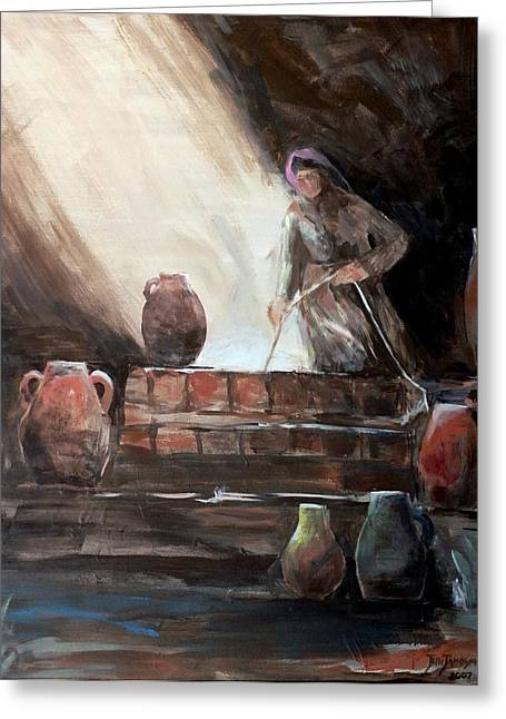 Water Jars Paintings Greeting Cards - Woman at the Well  Greeting Card by Jun Jamosmos