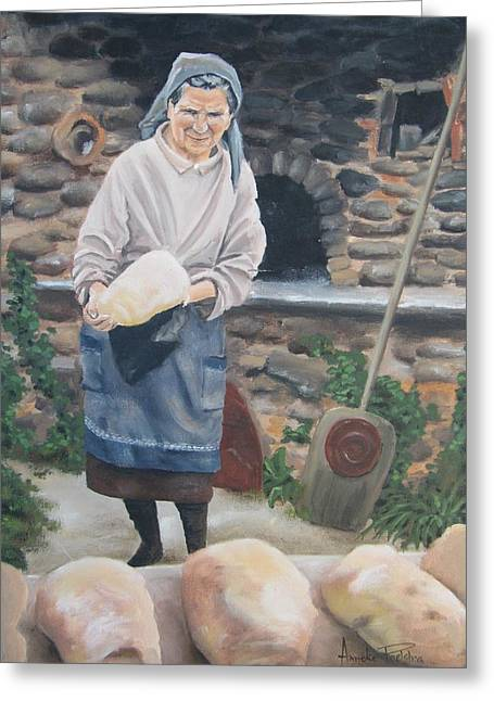 Loaf Of Bread Greeting Cards - Woman Baking Bread  Greeting Card by Anna Poelstra Traga