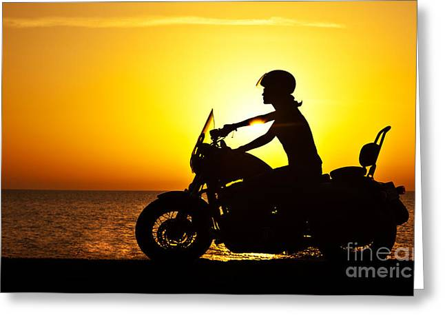 Ladies Bike Greeting Cards - Woman biker over sunset  Greeting Card by Anna Omelchenko