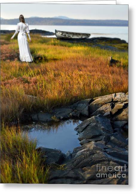 Maine Shore Greeting Cards - Woman by Boat on Grassy Shore Greeting Card by Jill Battaglia