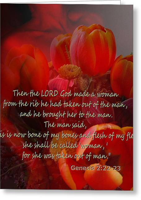 Bible Mixed Media Greeting Cards - Woman By God Greeting Card by Ruth Palmer
