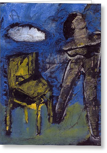 Human Spirit Pastels Greeting Cards - Woman- Chair- Cloud  Greeting Card by JC Armbruster