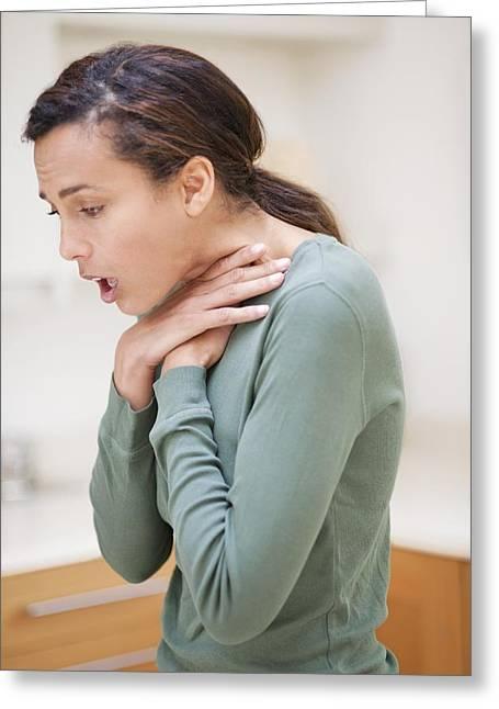 Choking Greeting Cards - Woman Choking Greeting Card by