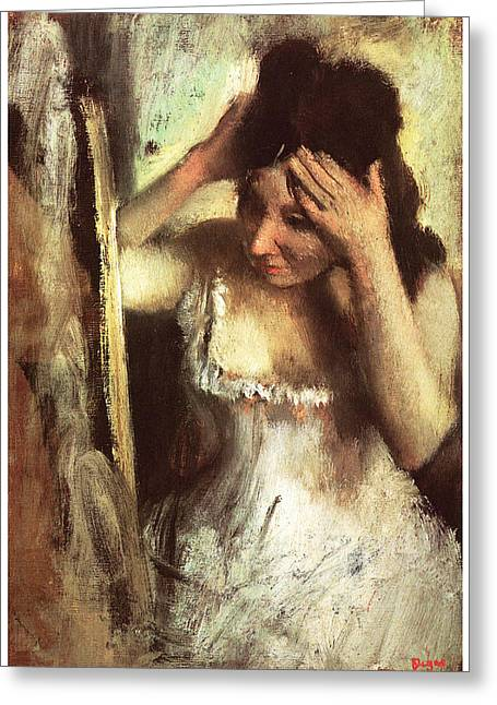 Victorian Era Woman Greeting Cards - Woman Combing her Hair Before a Mirror Greeting Card by Edgar Degas