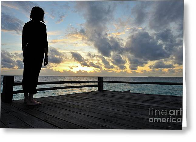 Women Only Greeting Cards - Woman contemplating the sunrise Greeting Card by Sami Sarkis