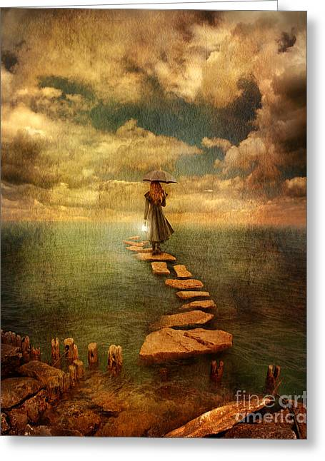 Stepping Stones Greeting Cards - Woman Crossing the Sea on Stepping Stones Greeting Card by Jill Battaglia
