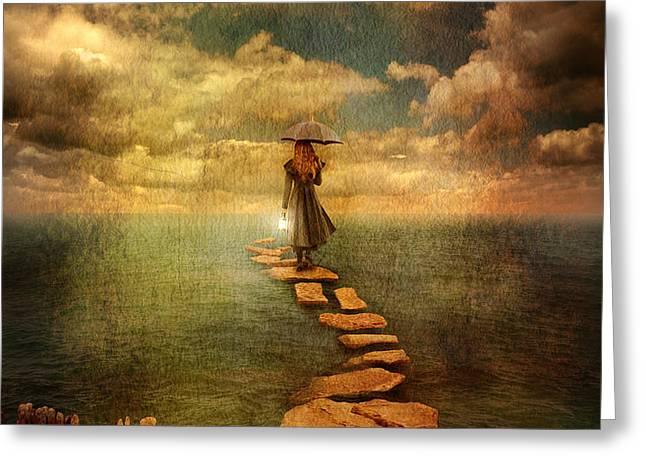 Woman Crossing the Sea on Stepping Stones Greeting Card by Jill Battaglia