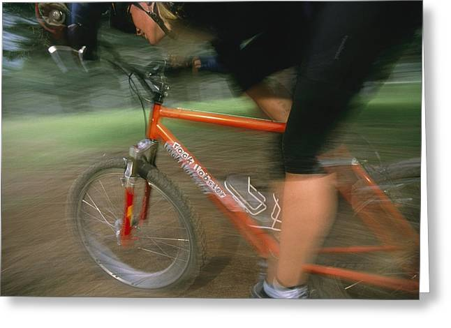 Human Actions And Reactions Greeting Cards - Woman Cycling, Time Exposure, Arizona Greeting Card by David Edwards