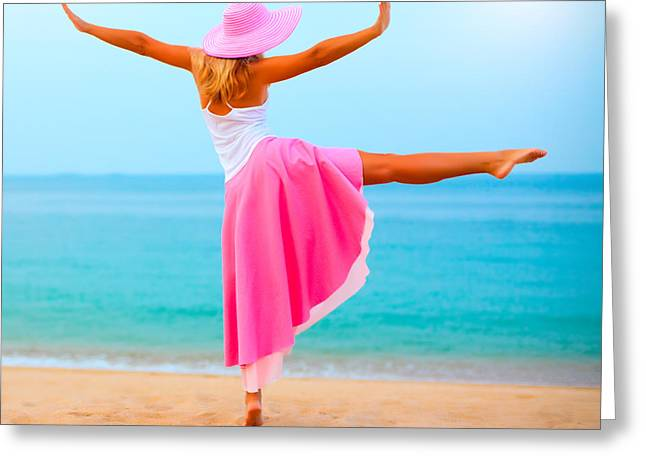 Sun Hat Greeting Cards - Woman dancing Greeting Card by MotHaiBaPhoto Prints