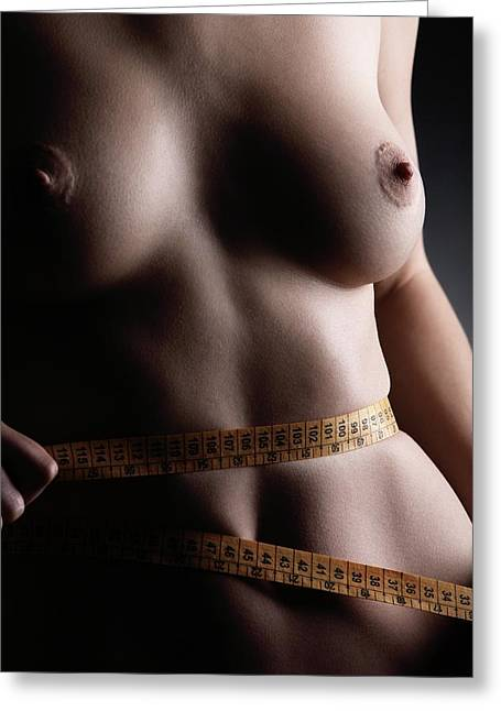 Conscious Greeting Cards - Woman Dieting Greeting Card by Mauro Fermariello