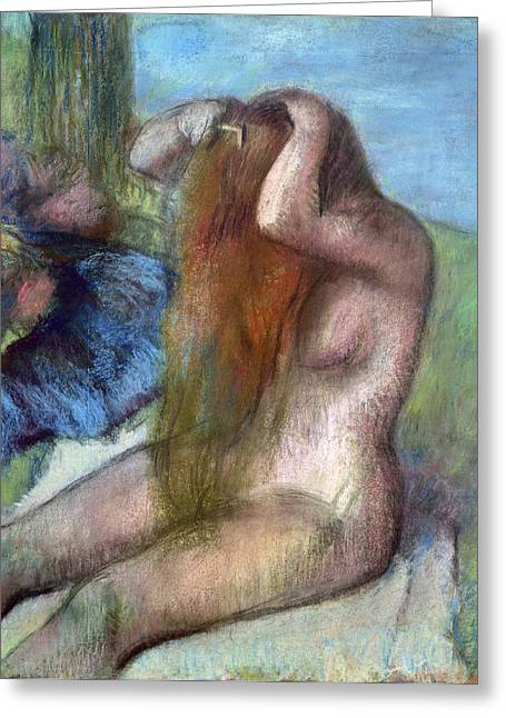 Odalisque Photographs Greeting Cards - Woman doing her Hair Greeting Card by Edgar Degas