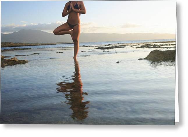 Woman doing Yoga Greeting Card by Brandon Tabiolo - Printscapes