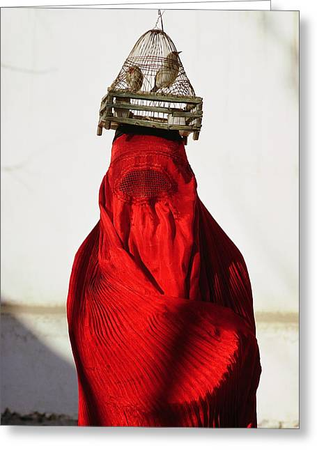 Discrimination Greeting Cards - Woman Draped In Red Chadri Carries Greeting Card by Thomas J. Abercrombie