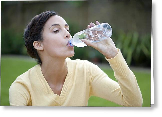 Mid Adult Women Greeting Cards - Woman Drinking Bottled Water Greeting Card by