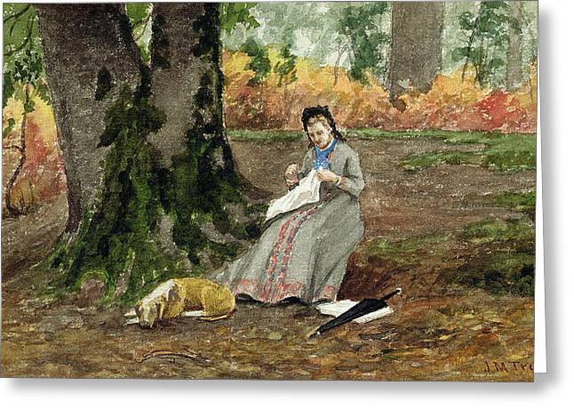 Embroidery Greeting Cards - Woman Embroidering Under a Tree  Greeting Card by John M Tracy