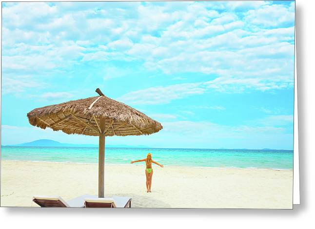 Daybed Greeting Cards - Woman enjoy sun Greeting Card by MotHaiBaPhoto Prints