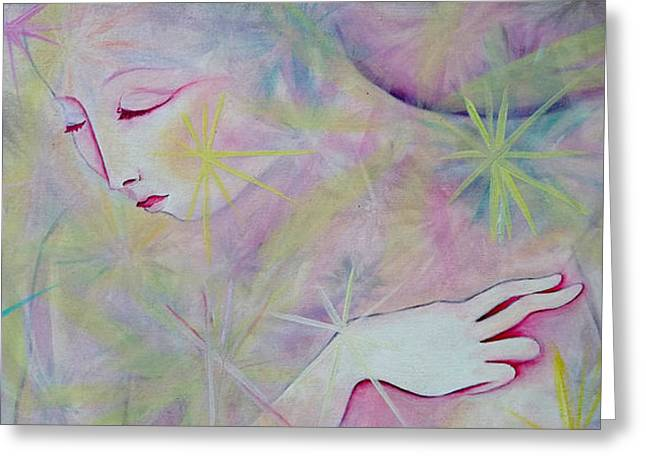 Anne Cameron Cutri Greeting Cards - Woman Face Detail Greeting Card by Anne Cameron Cutri