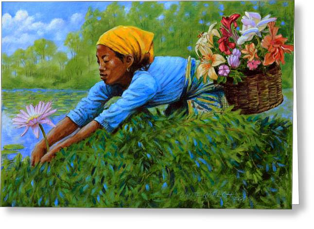 Picking Greeting Cards - Woman Gathering Flowers Greeting Card by John Lautermilch
