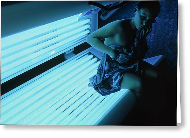 Sunbed Greeting Cards - Woman Getting Off A Sunbed Greeting Card by Geoff Tompkinson
