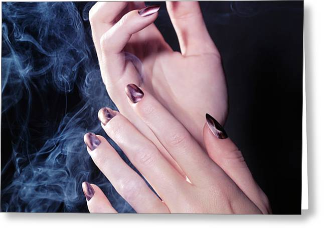 Woman Hands in a Cloud of Smoke Greeting Card by Oleksiy Maksymenko