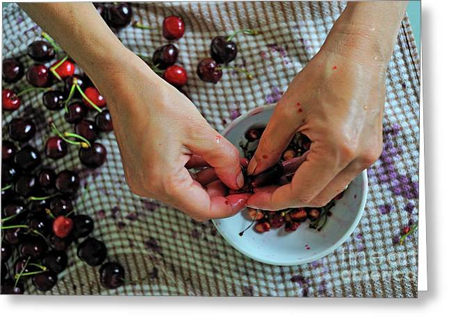 Women Only Greeting Cards - Woman hands preparing Cherry jam Greeting Card by Sami Sarkis