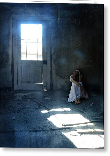 Desperate Greeting Cards - Woman Hiding in Abandoned Room Greeting Card by Jill Battaglia