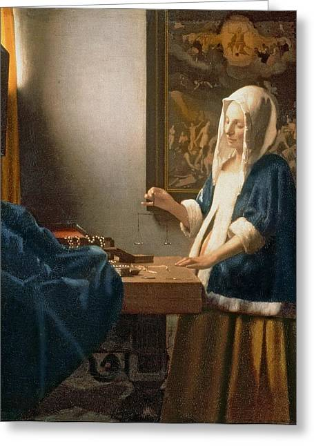 Desks Greeting Cards - Woman Holding a Balance Greeting Card by Jan Vermeer
