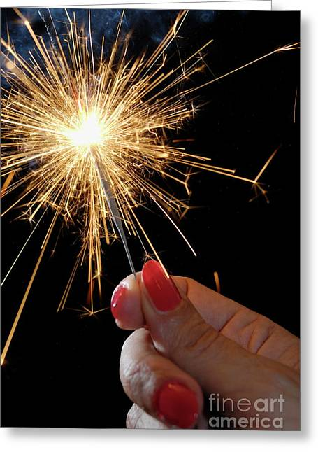 Only Mature Women Greeting Cards - Woman holding sparkler Greeting Card by Sami Sarkis