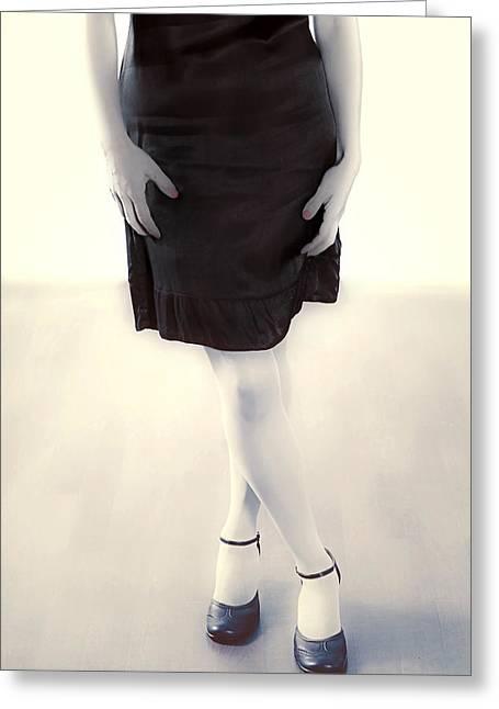 Flirtatious Greeting Cards - Woman In A Dress Greeting Card by Joana Kruse