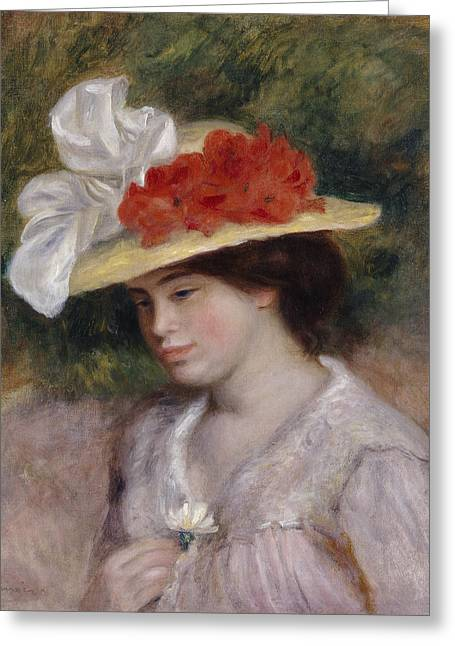 Flowered Greeting Cards - Woman in a Flowered Hat Greeting Card by Pierre Auguste Renoir