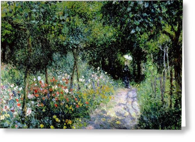 Flower Bed Greeting Cards - Woman in a Garden Greeting Card by Pierre Auguste Renoir