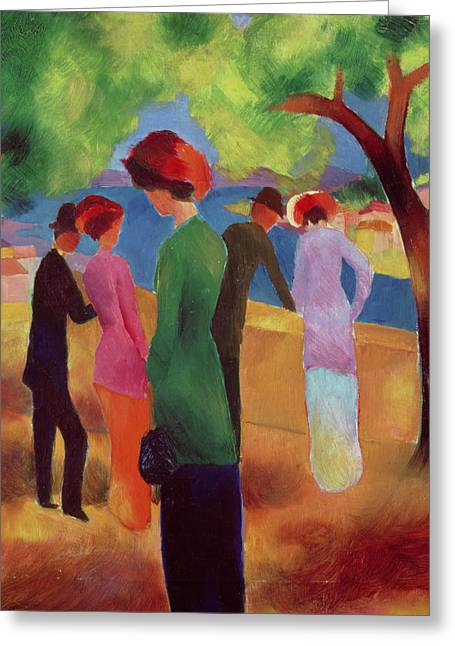 Park Greeting Cards - Woman in a Green Jacket Greeting Card by August Macke