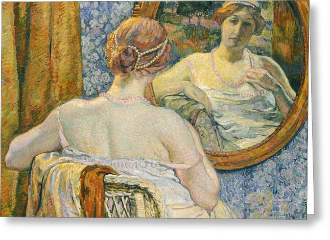 Slip Greeting Cards - Woman in a Mirror Greeting Card by Theo van Rysselberghe