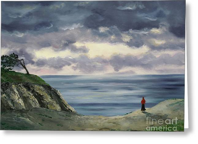 Best Sellers -  - Half Moon Bay Greeting Cards - Woman in a Red Shawl Greeting Card by Laura Iverson
