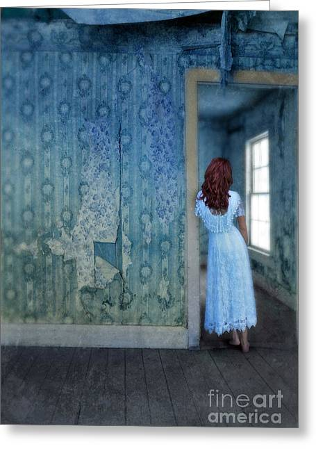Abandoned Houses Greeting Cards - Woman in Abandoned House Greeting Card by Jill Battaglia