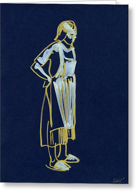 Apron Drawings Greeting Cards - Woman In Apron Greeting Card by Natoly Art