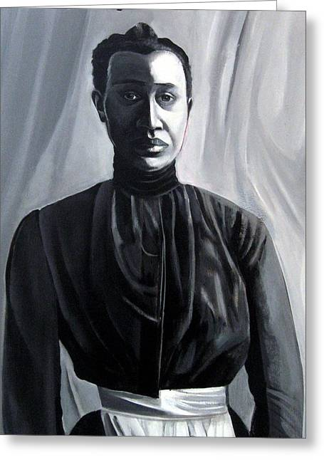 African-americans Sculptures Greeting Cards - Woman in Apron Out of the Box series  Greeting Card by Joyce Owens