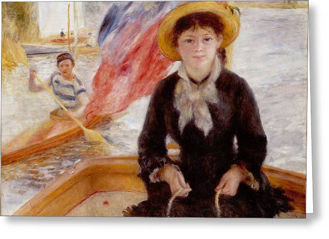 Sailor Hat Greeting Cards - Woman in Boat with Canoeist Greeting Card by Renoir