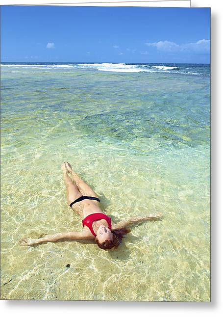 Floating Girl Greeting Cards - Woman in clear water Greeting Card by Kicka Witte