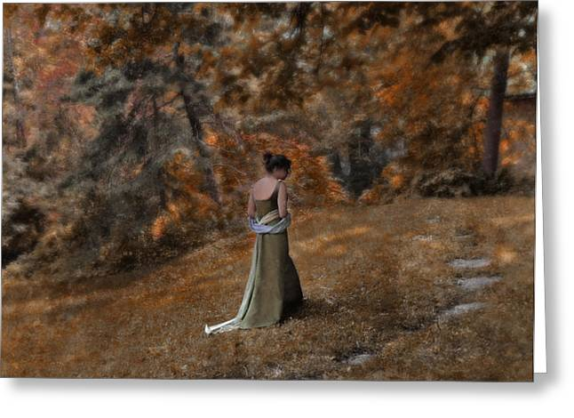 Woman in Green Gown  Greeting Card by Jill Battaglia