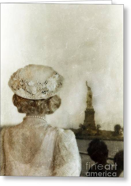 Statue Portrait Photographs Greeting Cards - Woman in Hat Viewing the Statue of Liberty  Greeting Card by Jill Battaglia